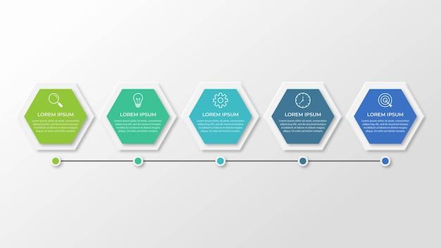 Szablon infografiki biznesowej prezentacji z 5 opcjami