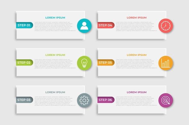 Szablon infografiki biznesowej prezentacji z 6 opcjami