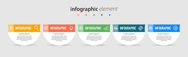 Szablon infografiki biznesowej wykresu prezentacji z 5 opcjami