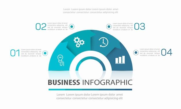 Szablon infografiki biznesowej z 4 opcjami lub krokami