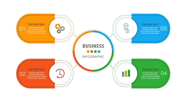Szablon infografiki biznesowej z 4 opcjami