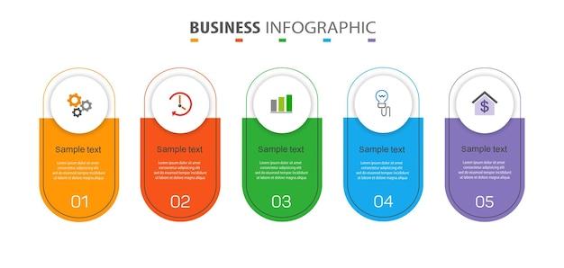 Szablon infografiki biznesowej z 5 opcjami