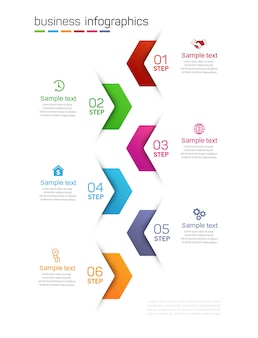 Szablon infografiki biznesowej z 6 opcjami, krokami lub procesami