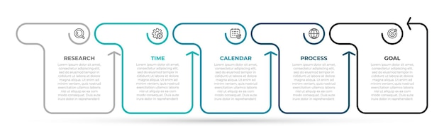 Szablon infografiki biznesowych cienka linia ze strzałkami i 5 opcjami lub krokami