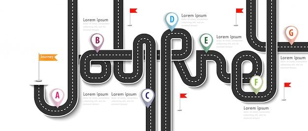 Szablon infografiki biznesowych i podróży z flagami i miejscem na dane. wijące drogi na białym tle