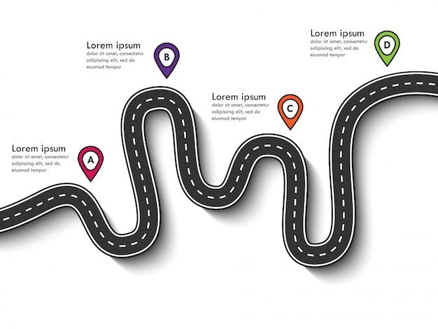 Szablon infografiki biznesowych i podróży ze wskaźnikiem pin i miejscem na dane. kręte drogi
