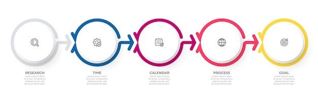 Szablon infografiki biznesowych kreatywne elementy projektu z 5 krokami lub opcjami