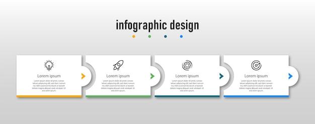 Szablon infografiki biznesowych profesjonalne kroki na osi czasu projekt infografiki