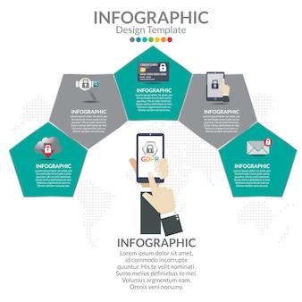 Szablon infografiki biznesu krok po kroku.