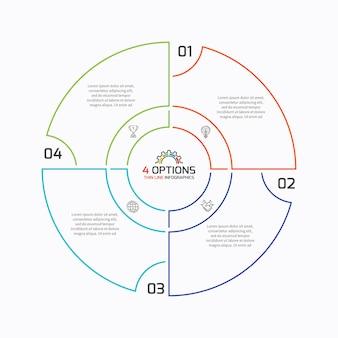 Szablon infografiki cienkiej linii wykresu kołowego z 4 opcjami. ilustracja wektorowa.