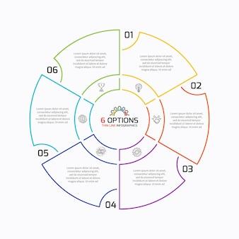 Szablon infografiki cienkiej linii wykresu kołowego z 6 opcjami. ilustracja wektorowa.