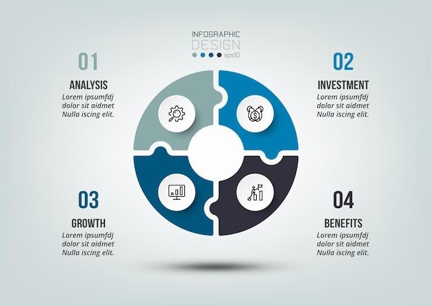 Szablon infografiki diagramu biznesowego lub marketingowego.