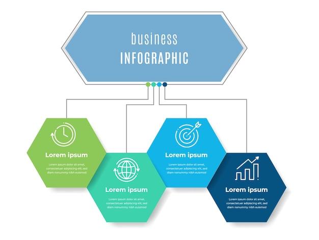 Szablon Infografiki Diagramu Sześciokątnego 4 Opcja Premium Wektorów