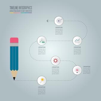 Szablon infografiki edukacji 5 krok opcja. oś czasu plansza projekt wektor.