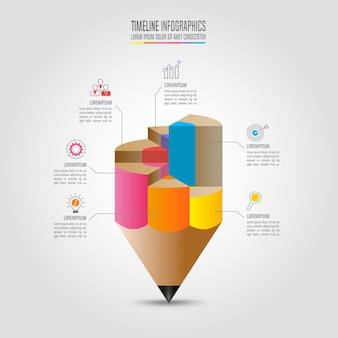 Szablon infografiki edukacji 6 opcji krok. oś czasu plansza projekt wektor.