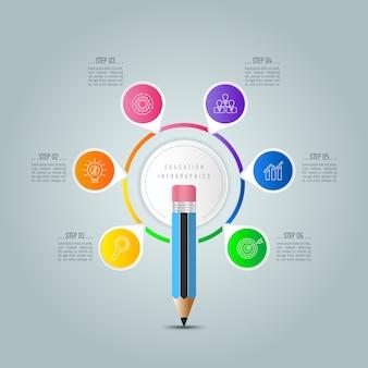 Szablon infografiki edukacji 6 opcji krok.