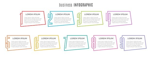 Szablon infografiki elementów 9 opcji