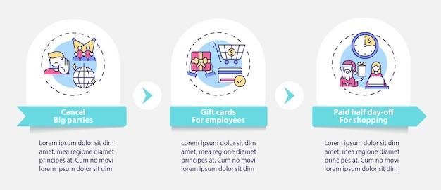 Szablon infografiki firmy covid friendly office party. karty upominkowe, elementy projektu prezentacji bezpiecznych zakupów. wizualizacja danych 3 kroki. wykres osi czasu procesu. układ przepływu pracy z ikonami liniowymi