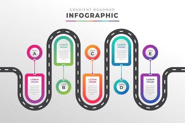 Szablon infografiki gradientowej mapy drogowej