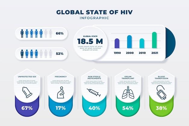 Szablon infografiki hiv w stylu papieru