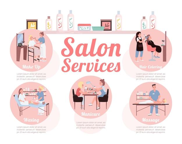 Szablon infografiki infograficznej płaski kolor usług salonu
