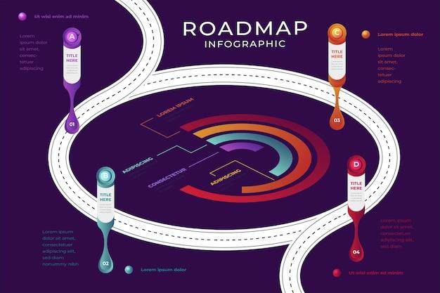 Szablon infografiki izometrycznej mapy drogowej