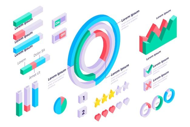 Szablon infografiki izometryczny
