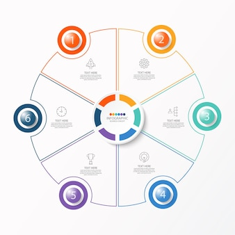 Szablon infografiki koła z 6 krokami, procesem lub opcjami, wykresem procesu,