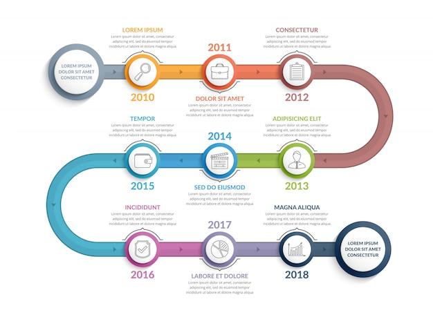 Szablon infografiki kolorowe osi czasu