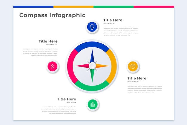 Szablon infografiki kompasu