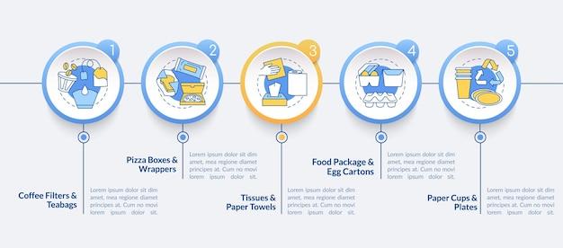 Szablon infografiki kompostowalnych opakowań. filtry do kawy, elementy do prezentacji chusteczek higienicznych. wizualizacja danych w 5 krokach. wykres osi czasu procesu. układ przepływu pracy z ikonami liniowymi