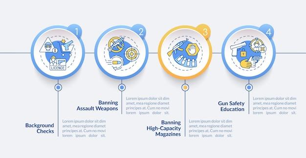 Szablon infografiki kontroli broni. sprawdzenie przeszłości. elementy projektu prezentacji bezpieczeństwa broni palnej. wizualizacja danych w 4 krokach. wykres osi czasu procesu. układ przepływu pracy z ikonami liniowymi