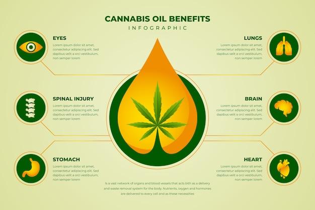Szablon infografiki korzyści oleju z konopi indyjskich