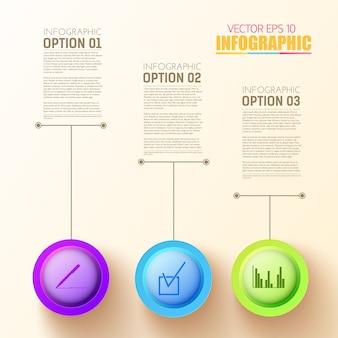 Szablon infografiki krok sieci web z trzema kolorowymi okrągłymi przyciskami i ikonami biznesowymi