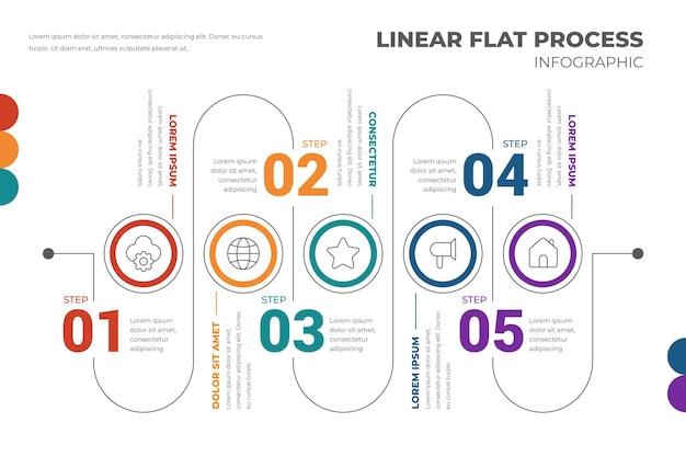 Szablon infografiki liniowego procesu płaskiego