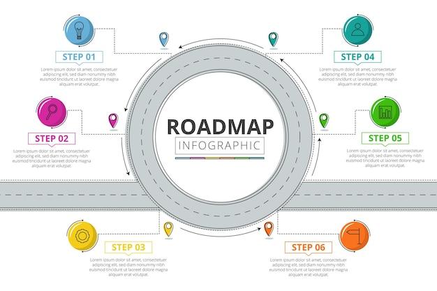Szablon infografiki liniowej płaskiej mapy drogowej