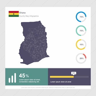 Szablon infografiki mapę i flaga ghany
