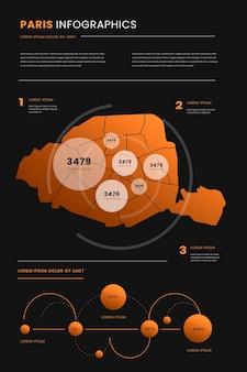 Szablon infografiki mapy paryża w stylu gradientu