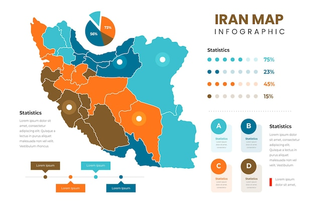 Szablon infografiki mapy płaski iran