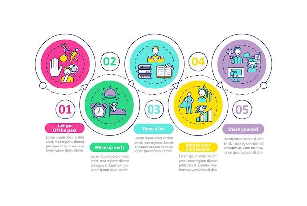 Szablon infografiki metod samorozwoju. elementy projektu prezentacji sukcesu.
