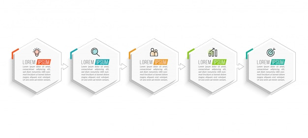Szablon infografiki minimalny biznes z pięciu kroków