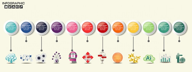 Szablon infografiki na osi czasu z opcjami.