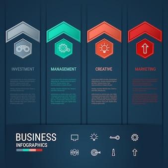Szablon infografiki nowoczesnej strzałki biznesu.
