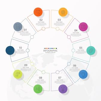 Szablon infografiki okręgu z 10 krokami, procesem lub opcjami, wykres procesu.