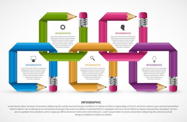 Szablon infografiki. ołówek z kolorowymi wstążkami.