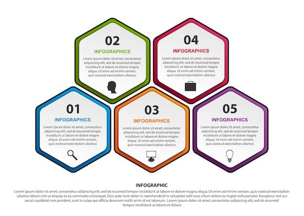 Szablon infografiki opcje sześciokąt.