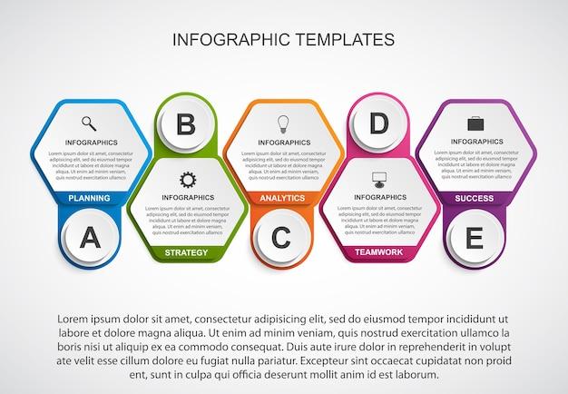 Szablon infografiki opcji sześciokątnych.