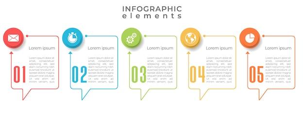 Szablon infografiki osi czasu 5 opcji lub kroków.