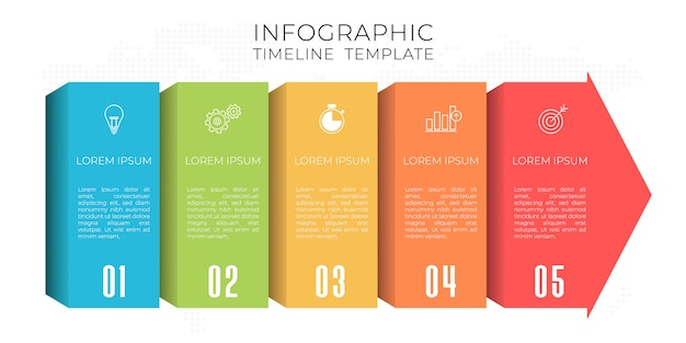 Szablon infografiki osi czasu 5 opcji.