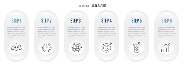 Szablon infografiki osi czasu 6 opcji styl koła